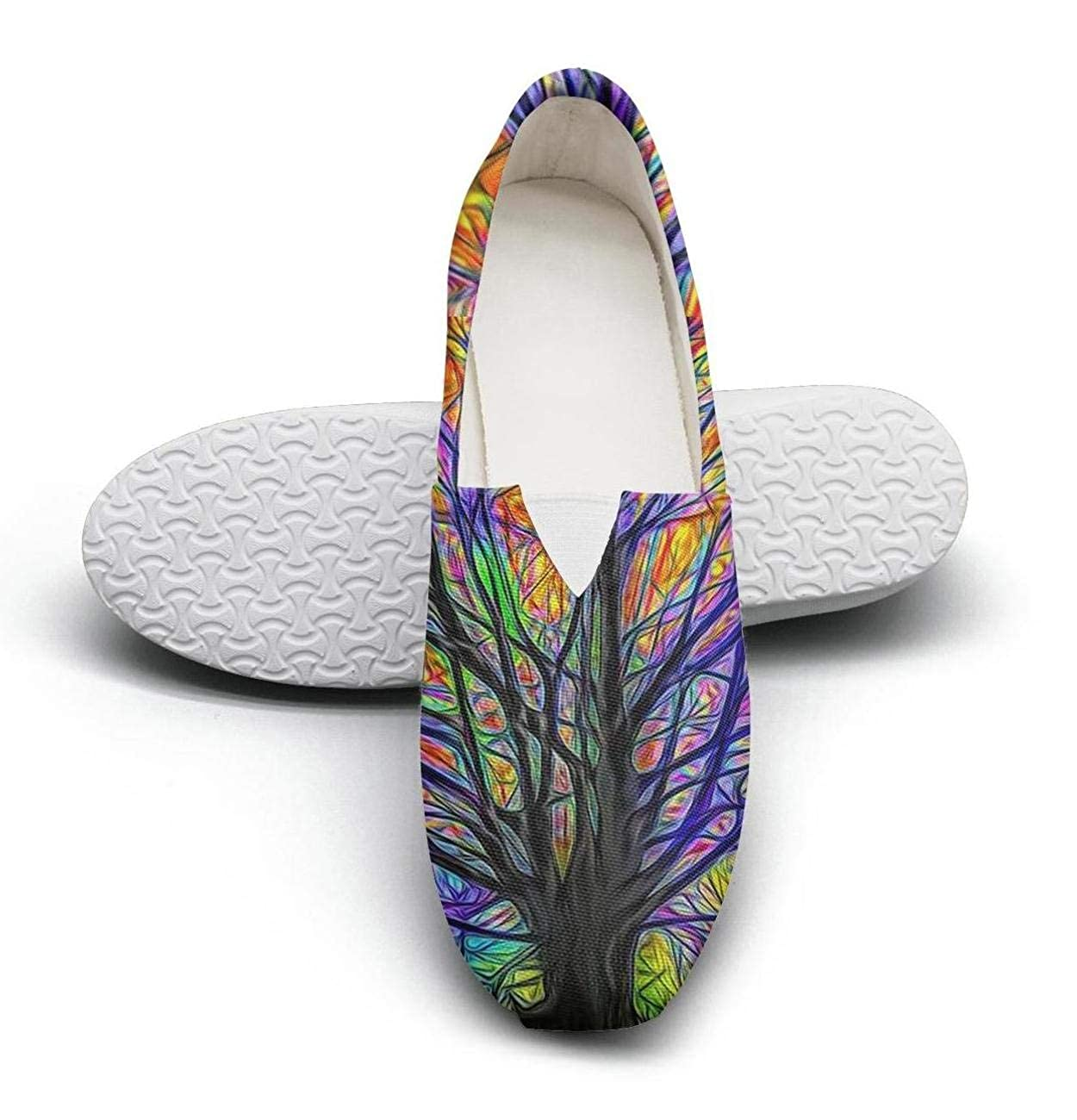 nkfbx Colorful Tree Casual Flat Trainers for Women Exercise
