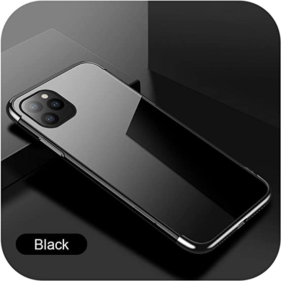Amazon Com Plating Silicone Case On The For Iphone Se 2020 Se 2 Se2 2nd Se2020 11 Pro Max X Xs Xr 7 8 Plus Soft Tpu Transparent Coque Funda Black For Iphone Se 2020