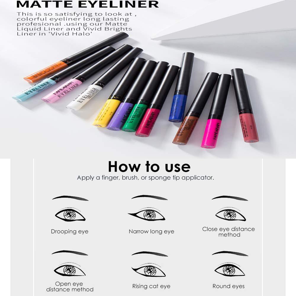 Liquid Metallic Eyeliner Glitter Eyeshadow 12 Color Metallic Glitter Sparkling Eyeliner Face Eye Cosmetic Glow Shimmer Makeup Glitter Eye Shadow Long Lasting Pigments Smudgeproof for Women Girl by Semilyn (Image #6)