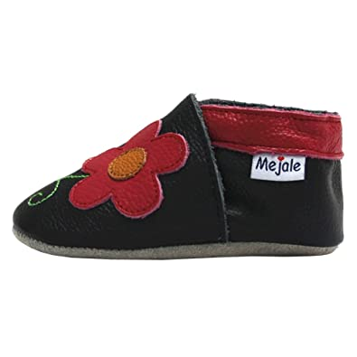 Amazon.com | Mejale Baby Shoes Soft Soled Leather Little Girl Moccasins Flower Infant Toddler Pre-Walker Black | Slippers