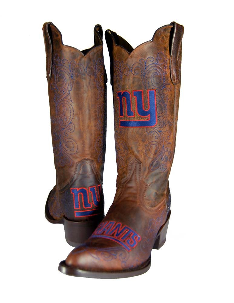 Old Pro Leathers NFL New York Giants Damen Flyer Pull Up Western Stiefel, Braun, 7