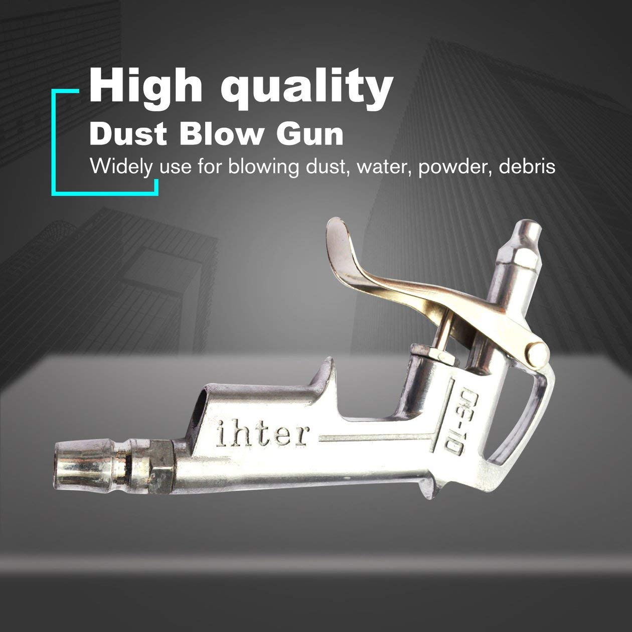 Plata BIYI DG-10 Pistola de Aire comprimido Pistola Limpiador de gatillo Compresor Soplador de Polvo Boquilla de 8 Pulgadas Herramienta de Limpieza de Pistola de Aire comprimido para compresor