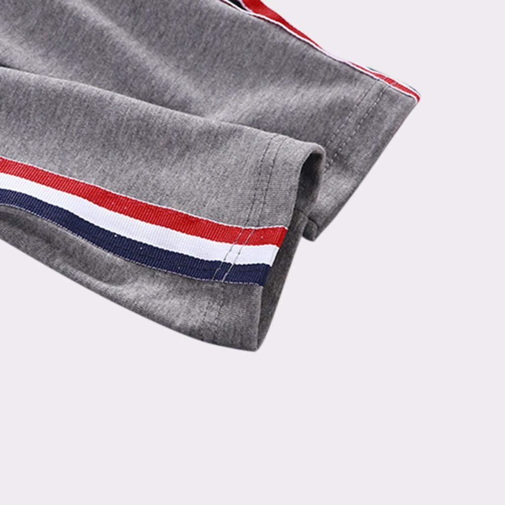 2-3Y AFfeco Children Stripe Elastic Waist Spring Cotton Sports Pants Trousers