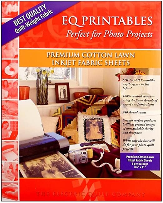 Electric Quilt Printables Inkjet Cotton Lawn Fabric Sheets 6 Pkg
