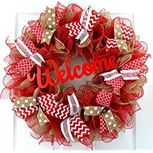 Jute burlap everyday year round welcome wreath; red white brown 60