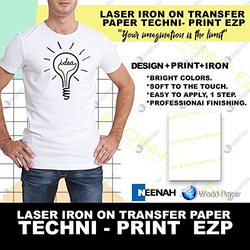 "LASER TRANSFER FOR WHITE FABRIC, ""NEENAH TECHNI-PRINT EZP"" (8.5""X11"") 50Pk :)"