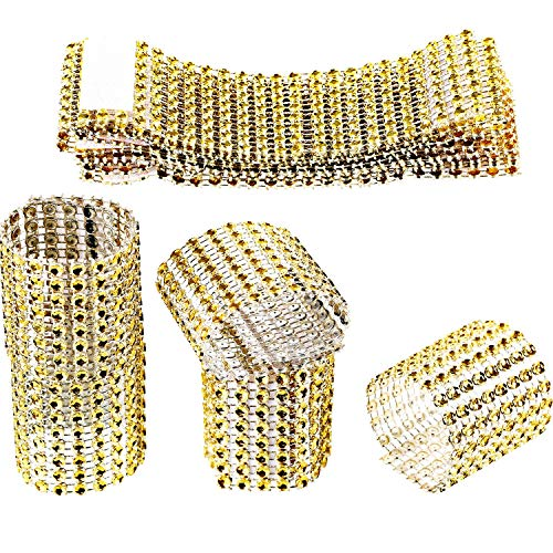 Zhanmai Rhinestone Napkin Rings Napkin Mesh Adornment for Wedding Party Birthday Supplies (Gold, 110 Pieces)