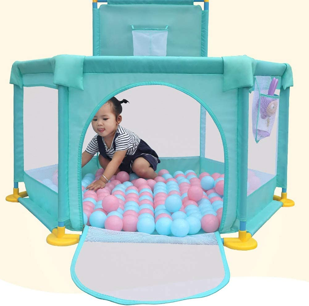 Big Feet Anti-Rollover Childrens Game Fence Child Protection Color : Green, Size : Playpen YYHSND 6-Panel Playpen with Basket Hoop,Baby Toddler Security Play Yard