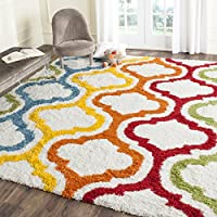 Safavieh Kids Shag Collection SGK561A Ivory and Multi Area Rug (5'3' x 7'6')
