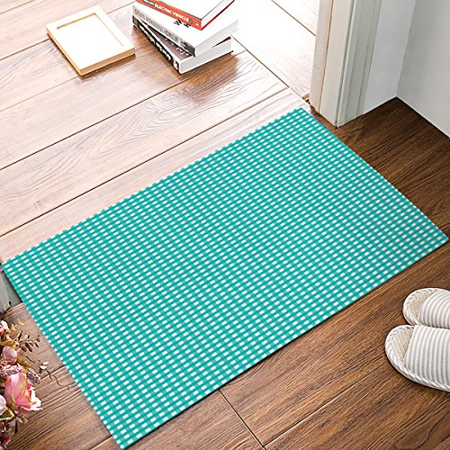 (Indoor Doormat Stylish Welcome Mat White Turquoise Buffalo Check Plaid Entrance Shoe Scrap Washable Apartment Office Floor Mats Front Doormats Non-Slip Bedroom Carpet Home Kitchen Rug 18