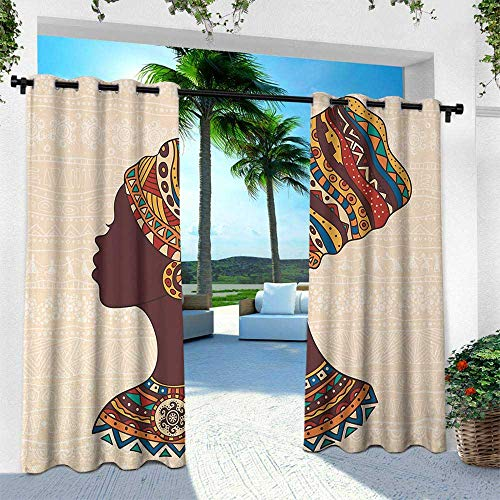 leinuoyi Tribal, Outdoor- Free Standing Outdoor Privacy Curtain, African Woman in Traditional Ethnic Fashion Dress Portrait Glamour Graphic, W120 x L84 Inch, Cream and Brown