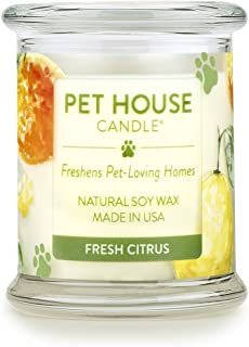 product image for One Fur All - 100% Natural Soy Wax Candle, 20 Fragrances - Pet Odor Eliminator, Appx 60 Hrs Burn Time, Non-Toxic, Reusable Glass Jar Scented Candles – Pet House Candle, Fresh Citrus