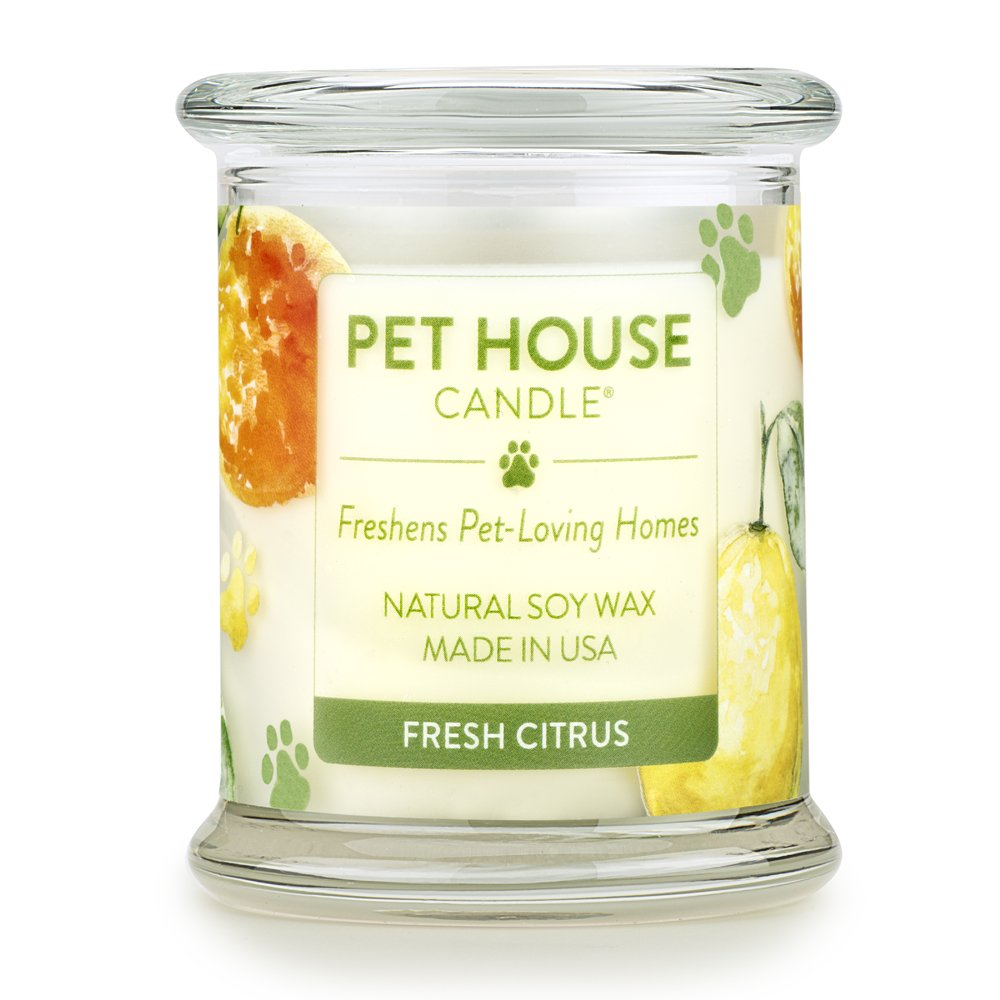 One Fur All - 100% Natural Soy Wax Candle, 20 Fragrances - Pet Odor Eliminator, 60-70 Hrs Burn Time, Non-toxic, Reusable Glass Jar Scented Candles – Pet House Candle, Fresh Citrus
