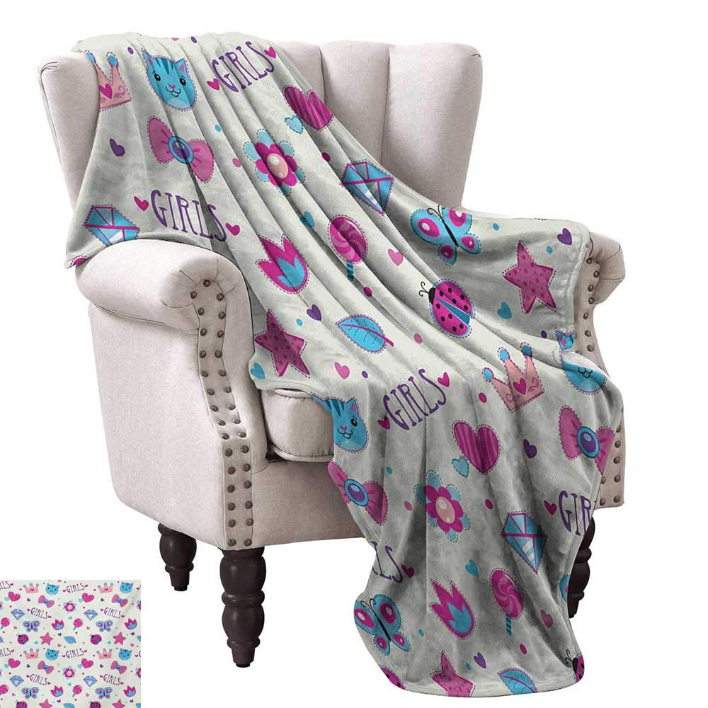 color02 30 Wx50 L WinfreyDecor Teen Girls Home Throw Blanket Pretty Smiling Princess on A White Horse with A Long Mane Happiness Theme Print Cozy for Couch Sofa Bed Beach Travel 60  Wx60 L Cream Pink