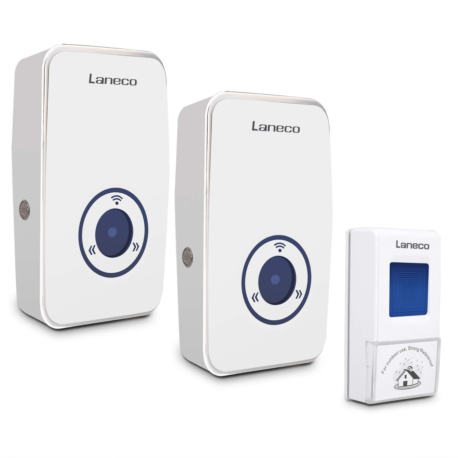 Waterproof Wireless Doorbell Kit for Home, Laneco door bell with 1 Remote Button and 2 Plug-in Receivers Operating up to 656 feet Long Range
