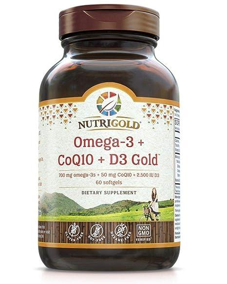 Amazon.com: Omega-3 + CoQ10 + Vitamin D3 GOLD - 700 mg of Omega-3 Fish Oil with 2500 IU Vitamin D3 and 50 mg Kaneka Q10 (60 Softgels): Health & Personal ...