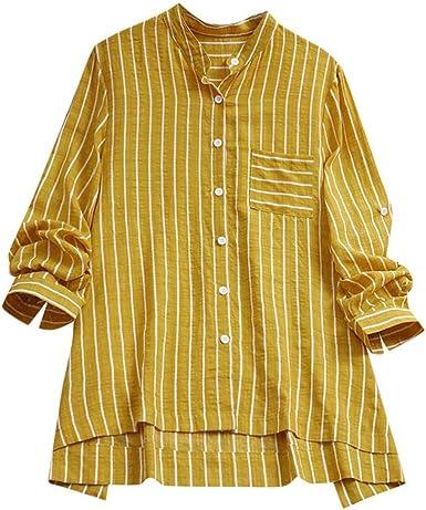 Camisetas Mujer Tallas Grandes Heavy SHOBDW Flojo Ocasional Algodón y Lino Top De Manga Larga con Estampado De Rayas Blusa Camisa Túnica Botón Blusa De Cuello Alto para Mujer M-5XL: Amazon.es: Ropa