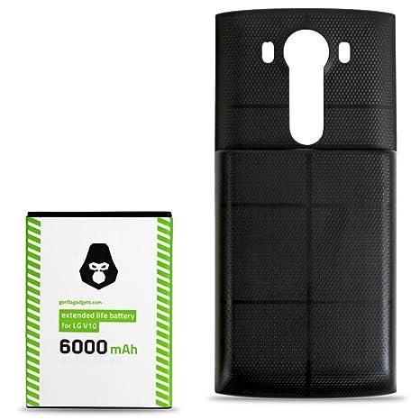 Gorilla Gadgets LG V10 Extended Battery (6000mAh) High Capacity Replacement  Phone Battery for LG V10 (Black)