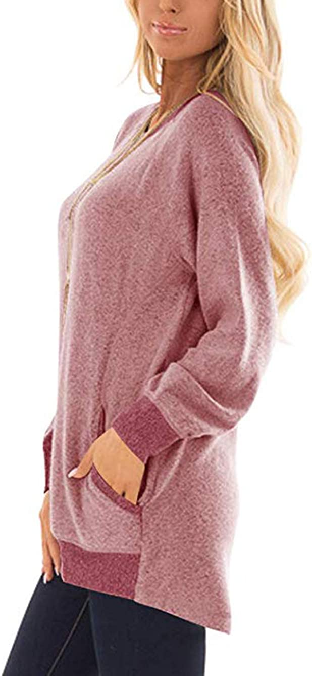 iChunhua Womens Color Block Crewneck Mid Long Pullover Sweatershirt Solid Pocket Comfortable Knit Shirt