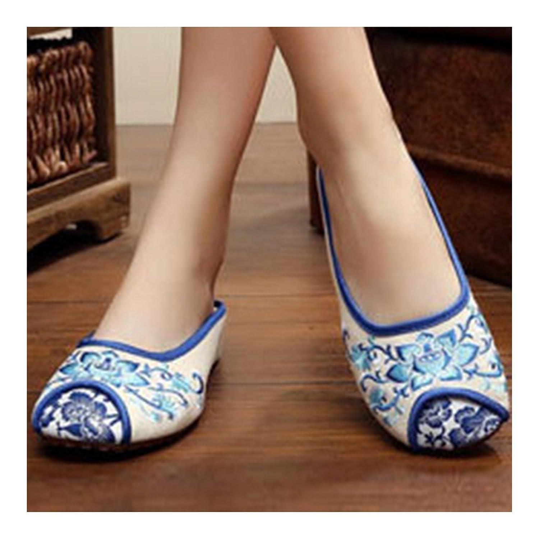 Bonitos y Elegantes Zapatillas Bordadas de Flores Lotus Azul 35 xouJYw