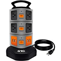Power Strip Tower, ANKO 3000W 13A 16AWG Surge Protector Electric Charging Station, 10 Outlet Plugs with 4 USB Slot 6feet…