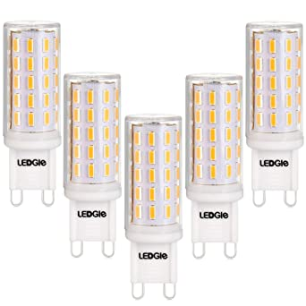 LEDGLE Bombillas LED G9 6W, 60W Bombilla Halógena equivalente, Blanco Cálido 2800k, 420LM