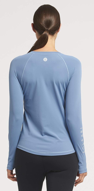 Solbari UPF 50+ Women's Sun Protection Long Sleeve Rashguard Aqua Sport Collection - UV Protection, Sun Protective Dusk Blue
