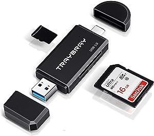 Lector de Tarjetas USB 3.0, TRAYBRAY Lector Tarjeta de Memoria 2-in-1 USB Tipo C SD/MicroSD Adaptador OTG for Computadora, Laptop, Teléfono Inteligente, SDHC, SD, MMC, RS-MMC, Micro SD