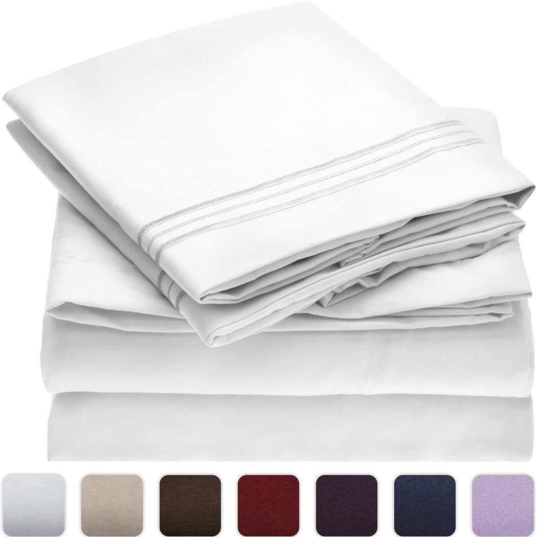 Mellanni Bed Sheet Set - Brushed Microfiber 1800 Bedding - Wrinkle, Fade, Stain Resistant - Hypoallergenic - 4 Piece