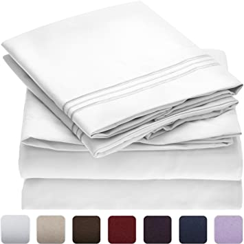 mellanni bed sheet set brushed microfiber bedding wrinkle fade stain resistant - Twin Bed Sheets