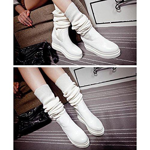 FUFU Damen Schuhe Komfort Stiefel PU Wildleder Winter Stiefel Keilabsatz Feder Runde Kappe für Casual Schwarz Weiß 1in-1 3 / 4in Weiß