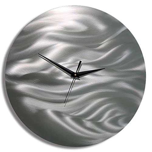 Statements2000 All Natural Silver Etched Modern Metal Wall Clock – Abstract Functional Art – Contemporary Timepiece – Time After Time By Jon Allen – 11-inch