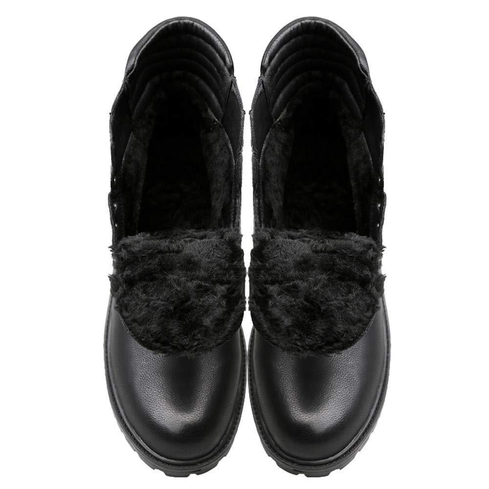 Fuxitoggo Herrenmode Stiefeletten, Casual British Style Einfache Einfache Einfache Anti-Rutsch-Laufsohle Schnürung Martin Stiefel (Warm Velvet Optional) (Farbe   Warm schwarz, Größe   44 EU) e3d1b8