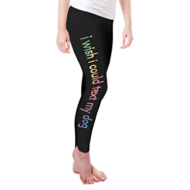 ab6119f36fd5e TWISTED ENVY Wish I Could Text My Dog Women's Funny Leggings: Amazon.co.uk:  Clothing