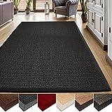 casa pura Area Rug | Sisal Non-Slip Rug for Living Room or Bedroom | Environmentally-Friendly 100% Natural Fiber Carpet | 2 Sizes | Black – 6′ x 9′