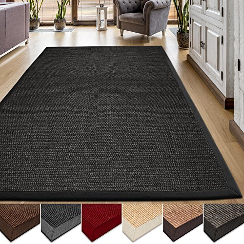 casa pura Area Rug | Sisal Non-Slip Rug for Living Room or Bedroom | Environmentally-Friendly 100% Natural Fiber Carpet | 2 Sizes | Black - 4' x 6' Cotton Border Jute