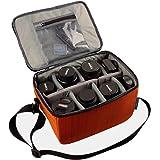 Partition antichoc étanche appareil photo Sacs rembourré SLR Housse de protection Insérer DSLR avec poignée supérieure et une bandoulière réglable pour la lentille Shot DSLR Ou Flash Light (Orange, L)