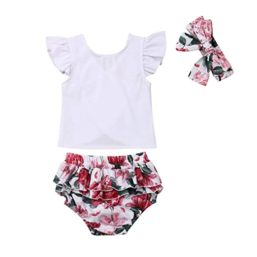 634fe2ab3f20a Amazon.com: New Cute Newborn Baby Girl Ruffles Sleeveless White T ...