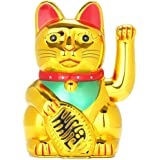 Maneki Neko, Lucky Fortune Cat, Japanese Lucky Cat with Waving Arm Gold Battery Operated(Battery Cover Included)