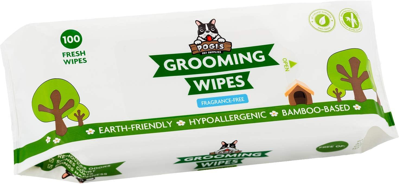 Pogi's Grooming Wipes - Toallitas húmedas - 100 toallitas desodorantes para Perros - No perfumadas, Naturales, Extra Grandes, biodegradables