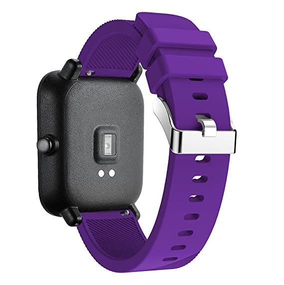 Silicone Strap Sports Band for Xiaomi Huami Amazfit Bip BIT PACE Lite Youth Smart Watch Band Replacement Bracelet Wrist Band Watch Strap (Purple)