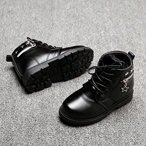 TPulling Mode Junge Und Mädchen Martin Stiefel Herbst Und Winter Plus Samt Reißverschluss Schuhe Stiefel Lässige Schuhe Schwarz