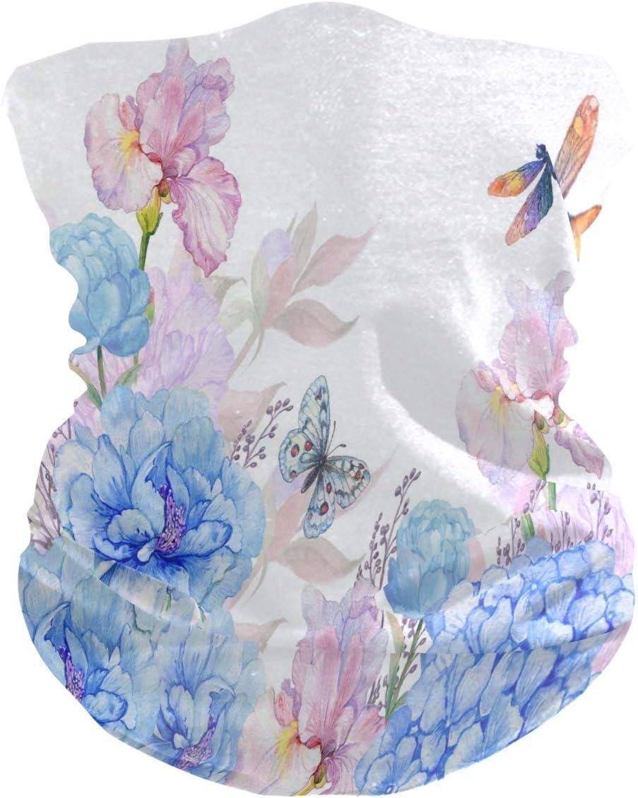 BUXI Printing 16-In-1 Sweatbands,Diademas De Flores De Hortensias De Mariposa De Primavera, Diademas 12 En 1 A Prueba De Viento para Caminatas A Caballo,25x50cm