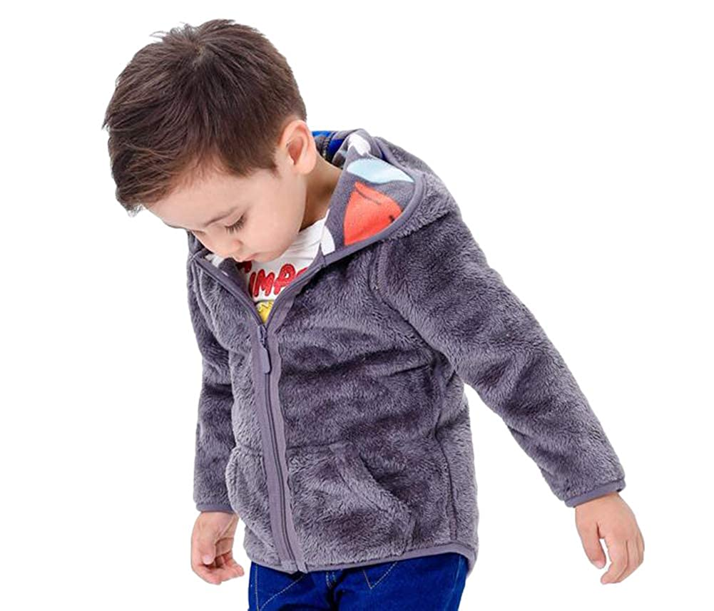 SMITHROAD Baby Jungen M/ädchen Jacke Fleecejacken Jungen Fleece Jacke mit Kapuze Kapuzenmantel Reversibel M/äntel