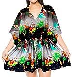 LA LEELA Soft Fabric Digital HD Print Bikini Cover Up Women OSFM 14-28 [L-4X] Black_2138
