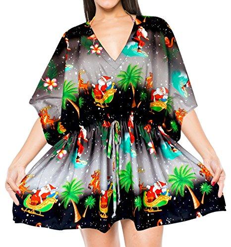 LA LEELA Soft Fabric Digital HD Print Bikini Cover Up Women OSFM 14-28 [L-4X] Black_2138 by LA LEELA