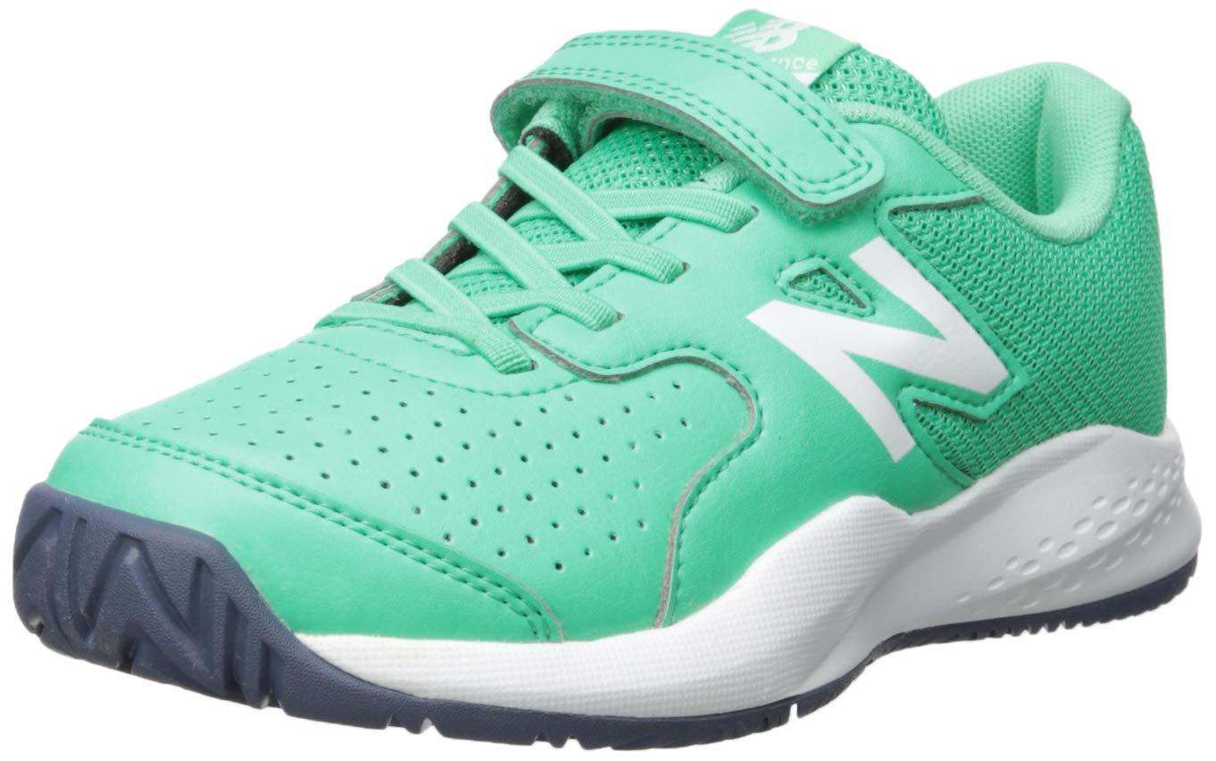 New Balance Boys' 696v3 Hard Court Tennis Shoe, neon Emerald/Vintage Indigo, 5 M US Big Kid