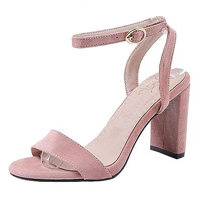 AIYOUMEI Damen Knöchelriemchen Sandalen mit Schnüren Hhigh