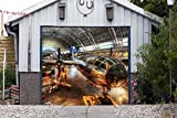Airplane Full Color Banner Single Garage Door Covers Billboard 3D Effect Print Plane Door Decor Garage Mural Made in the USA Size 83 x 96 inches DAV173
