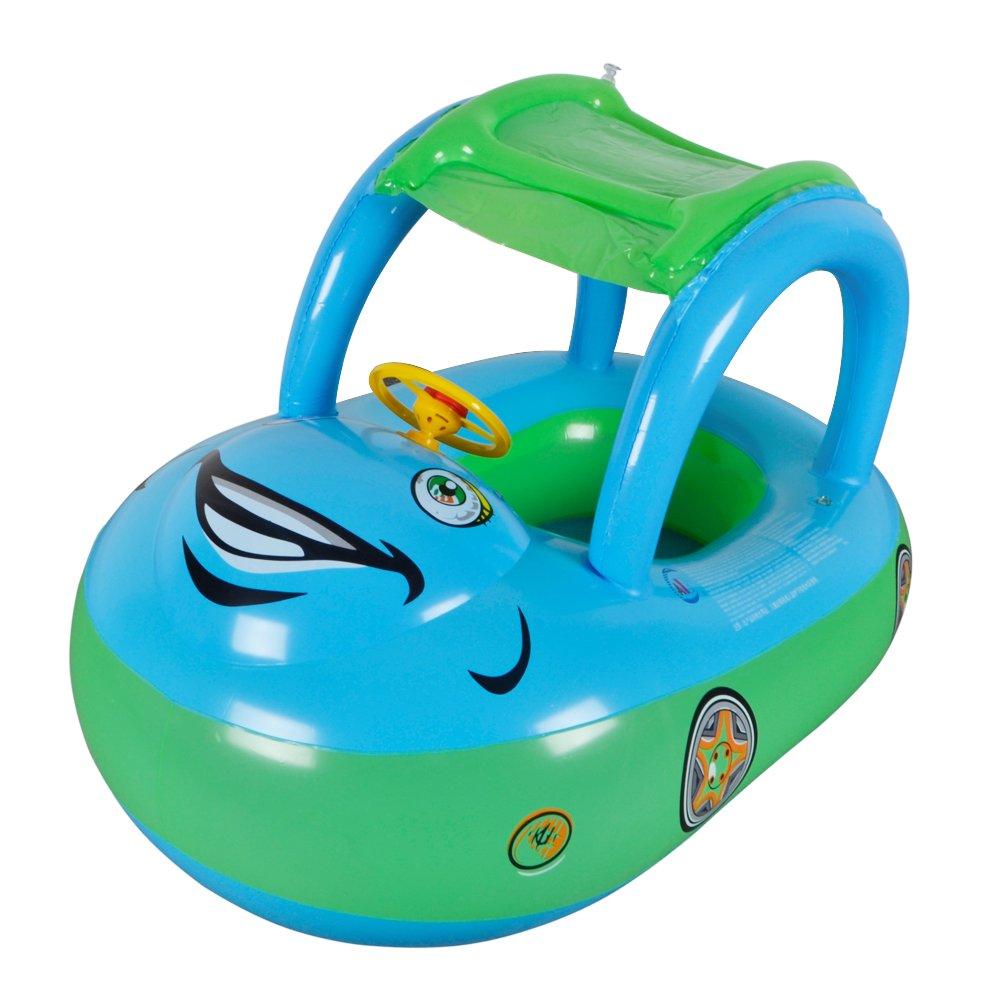 Flotador de Juguete Inflable para Bebé - WISHTIME Flotador para bebé con asiento,,techo del sol,barca bebé de piscina para 1-3 Años de Edad: Amazon.es: ...